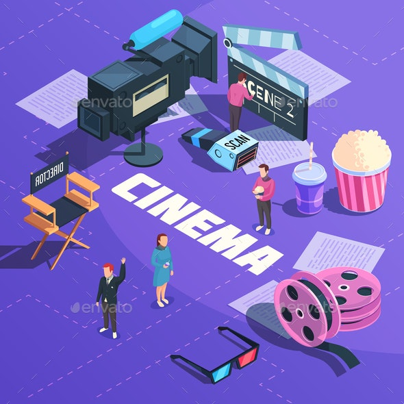 Cinema Isometric Composition - Food Objects