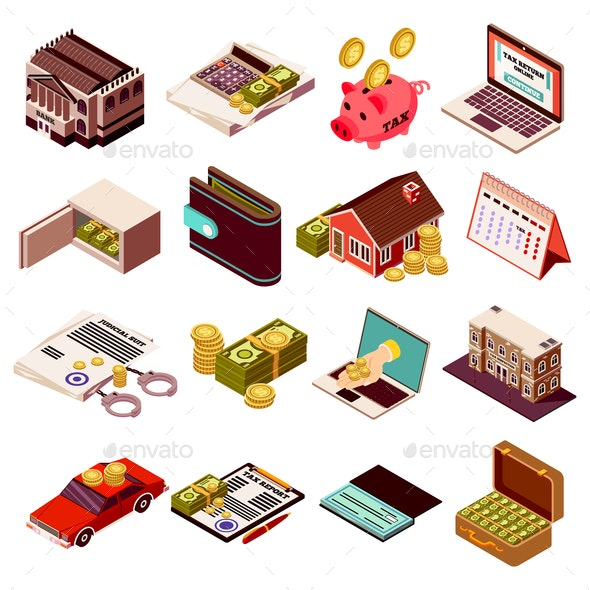 Accounting And Taxes Isometric Icons - Miscellaneous Vectors