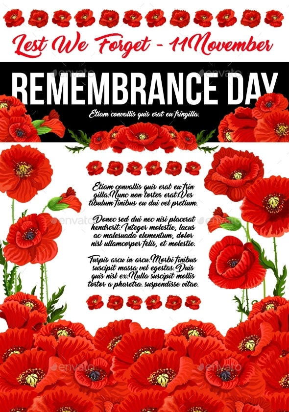 Poppy Remembrance Day 11 November Vector Poster By Vectortradition