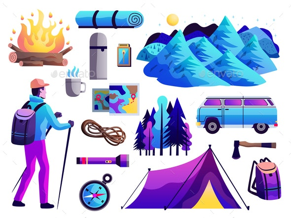 Hiking Camping Colorful Set - Abstract Conceptual