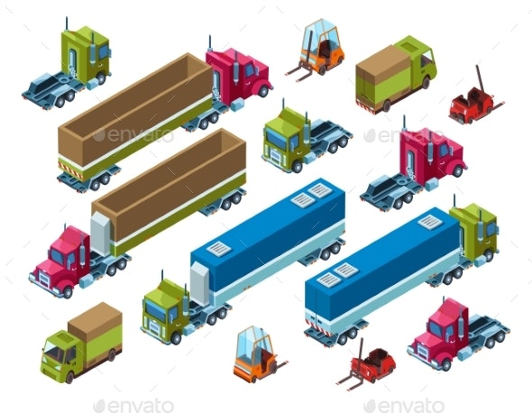 Cargo Freight Transport Vector Isometric - Man-made Objects Objects