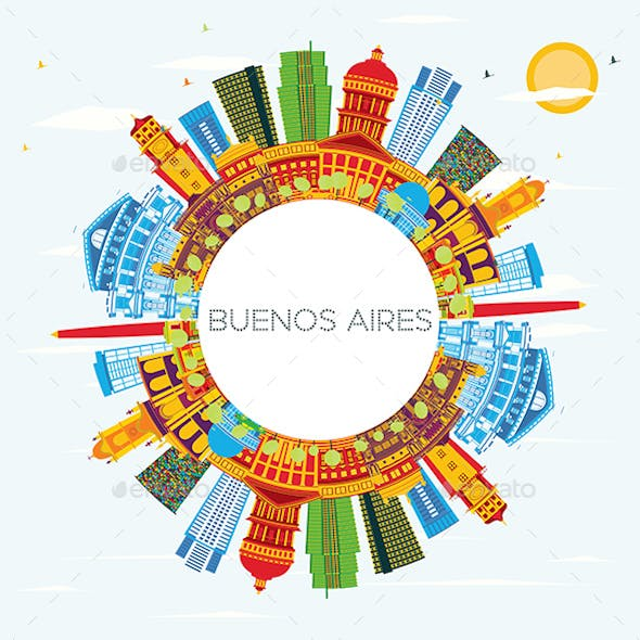 Buenos Aires Skyline with Color Landmarks, Blue Sky and Copy Space