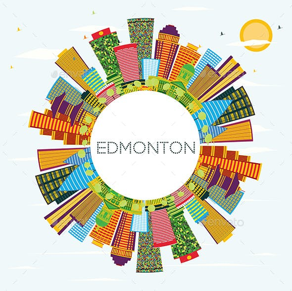Edmonton City Skyline with Color Buildings