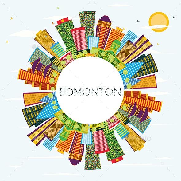 Edmonton City Skyline with Color Buildings - Buildings Objects
