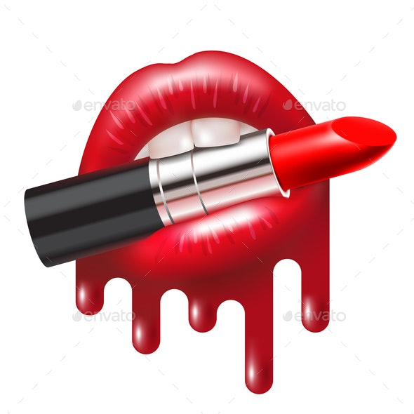 Red Lipstick in Mouth - Vectors