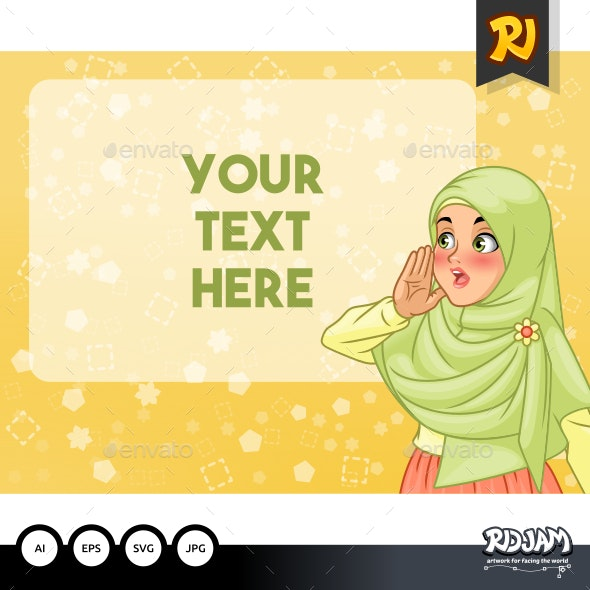 Veiled Muslim Woman Shout Using Her Hands - People Characters