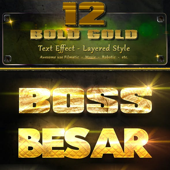 10 Bold Gold Text Effect