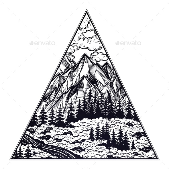 Triangle Frame with Landscape Forest and Mountains - Landscapes Nature
