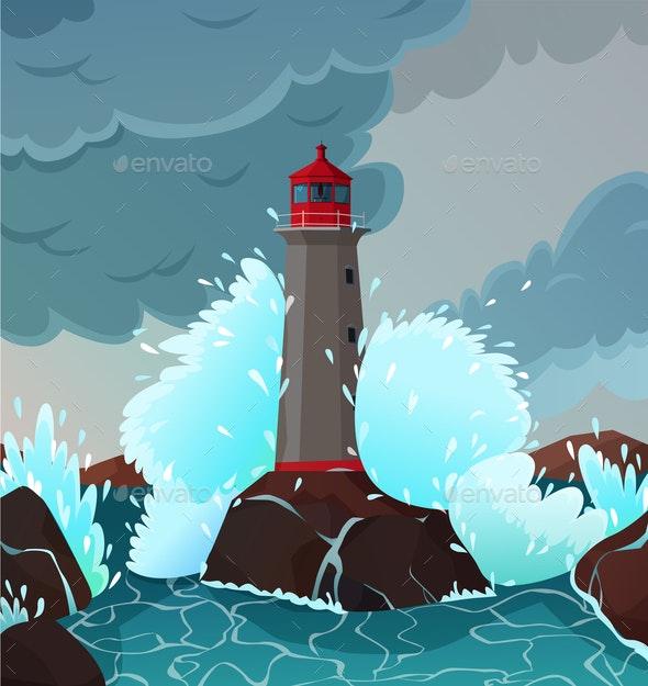 Stormy Seaside Landscape Illustration - Landscapes Nature