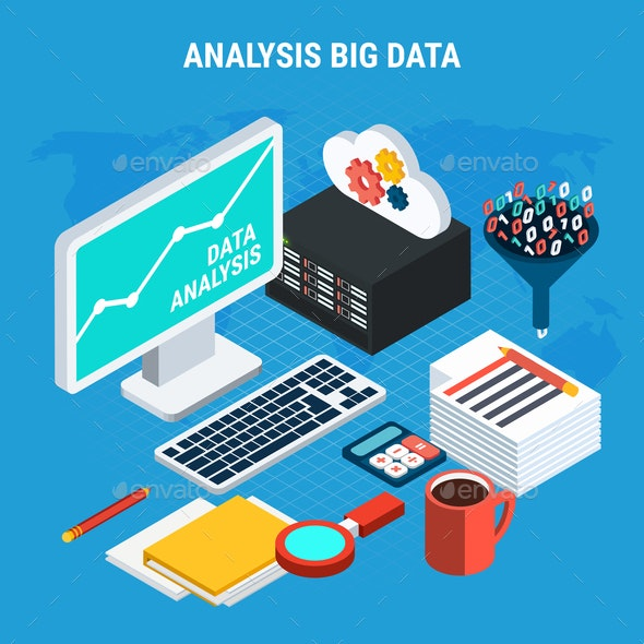 Big Data Analysis Isometric Design Concept - Computers Technology