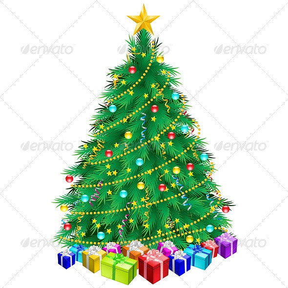 Christmas Tree and Gifts  - Objects Vectors