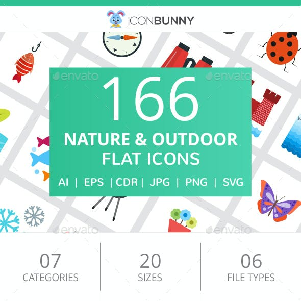 166 Nature & Outdoor Flat Icons