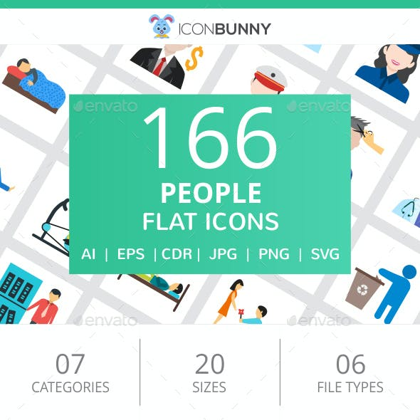 166 People Flat Icons