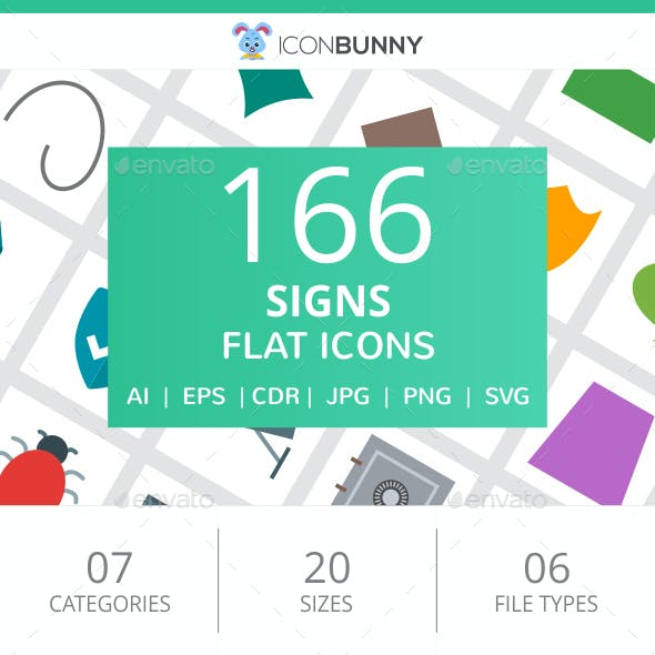 166 Sign Flat Icons