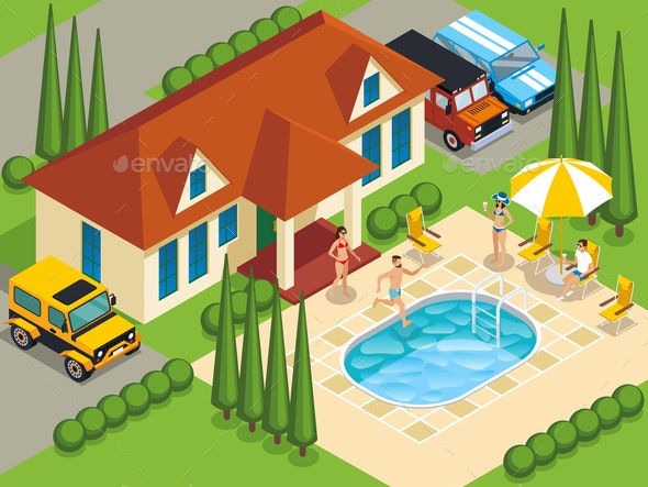 Rich People Villa Isometric Illustration - People Characters