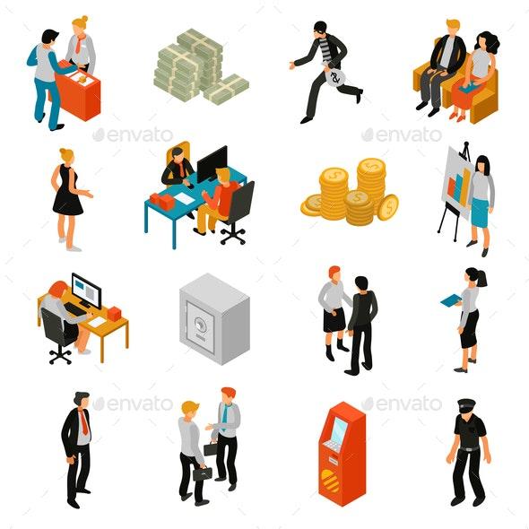 Bank People Isometric Icons - People Characters