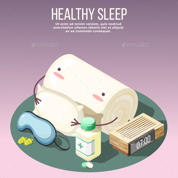 Healthy Sleep Isometric Composition - Backgrounds Decorative
