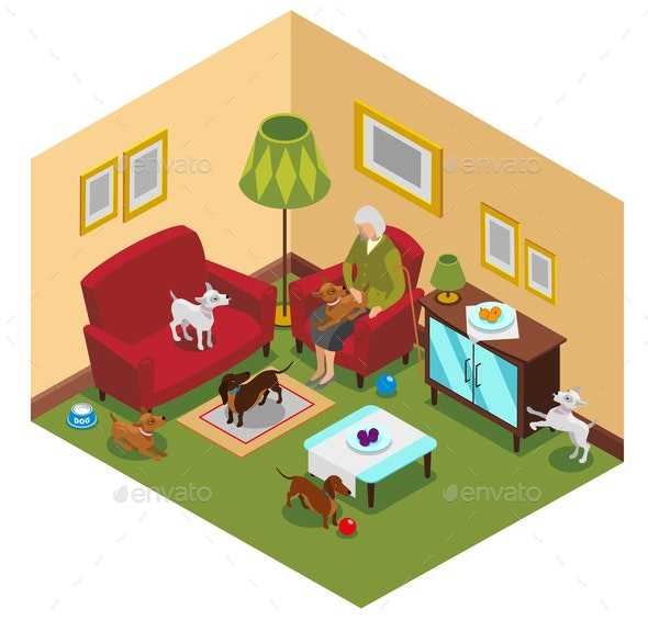 Old Lady Dogs Isometric Composition - Animals Characters