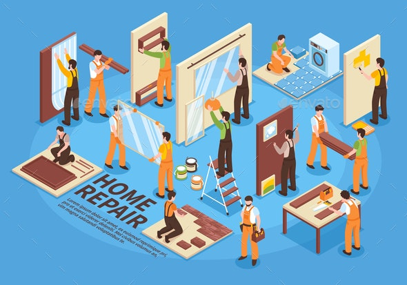 Home Repair Isometric Elements - Services Commercial / Shopping