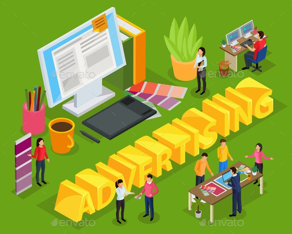 Advertising Isometric Composition - Business Conceptual