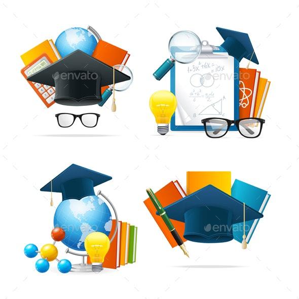 Realistic Detailed 3d Education Set. Vector - Conceptual Vectors