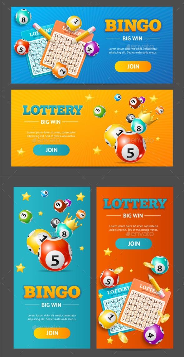 Realistic Lotto Banner Set. Vector