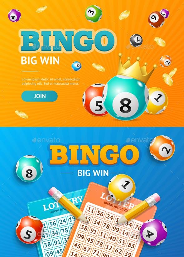 Realistic Detailed 3d Lotto Concept Bingo Big Win Card Background. Vector