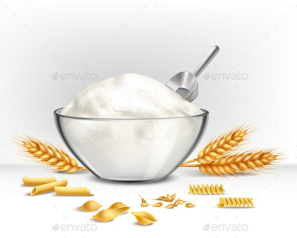 Bowl of Wheat Flour Illustration - Food Objects