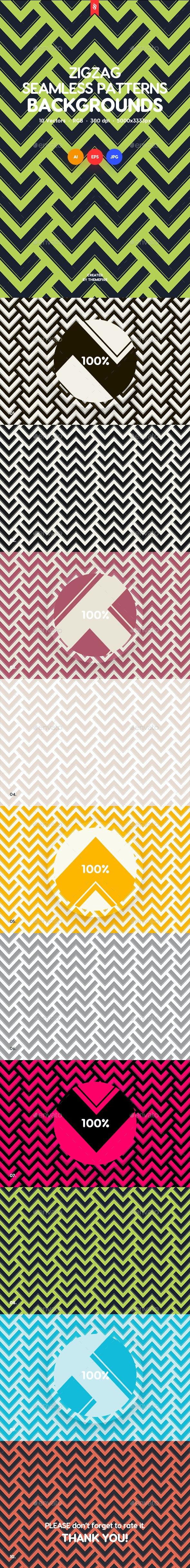 ZigZag Seamless Patterns / Backgrounds - Patterns Backgrounds