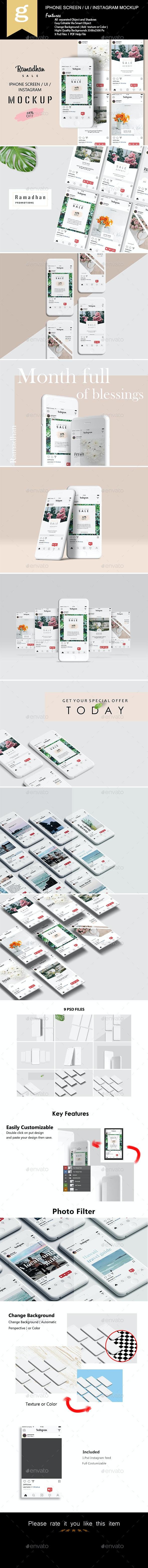 Phone Screen / UI / Instagram Mock-Up - Mobile Displays