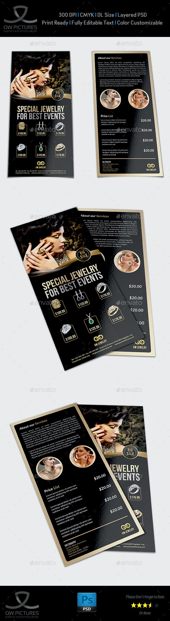 Jewelry Flyer Templates DL Size Vol2 - Commerce Flyers
