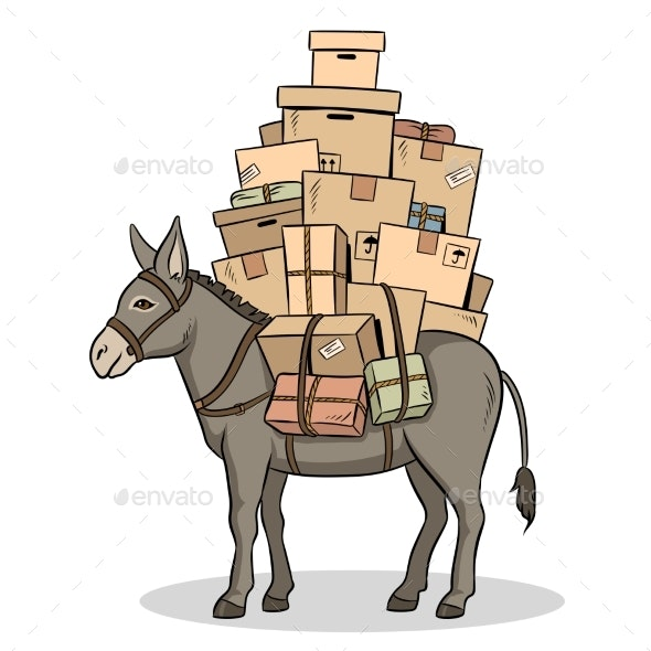 Donkey Loaded Parcels Pop Art Vector Illustration - Animals Characters