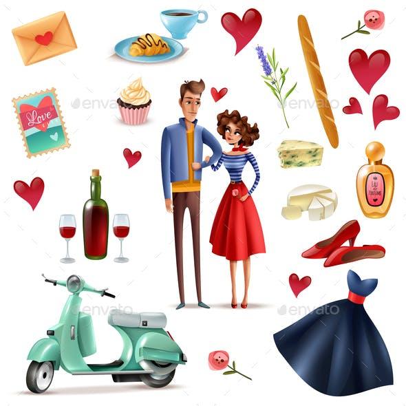 France and Paris Cartoon Set