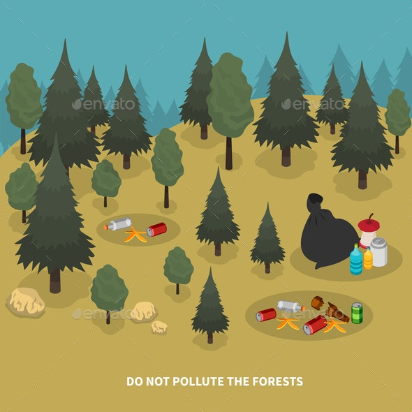 Forest Pollution Isometric Composition - Flowers & Plants Nature