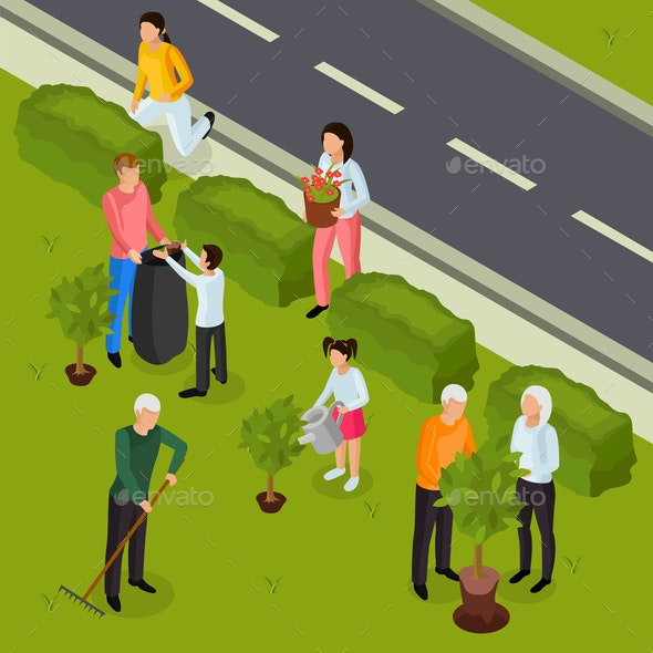 Spring Cleaning Isometric Composition - People Characters