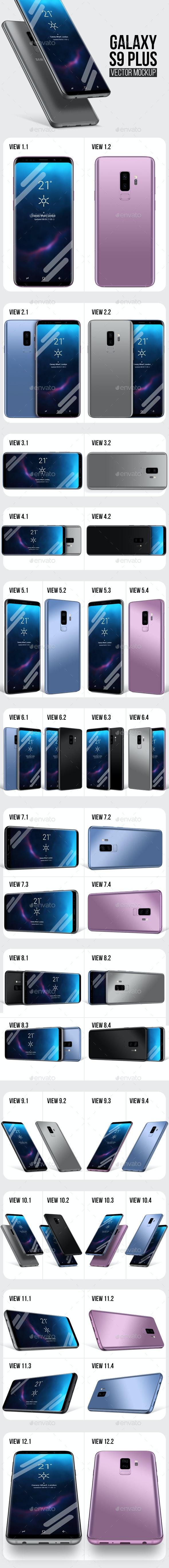 Galaxy S9 Plus Vector Mockup - Mobile Displays