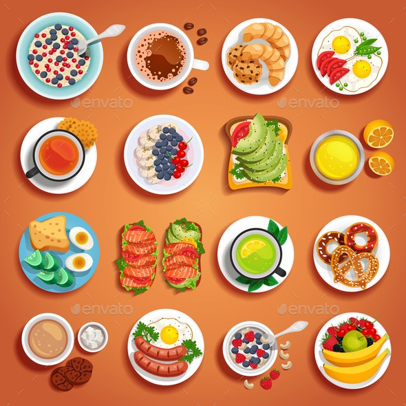 Breakfast Dishes Set - Food Objects
