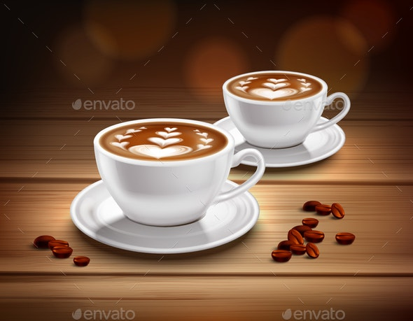 Cups of Cappuccino Coffee Composition - Miscellaneous Vectors