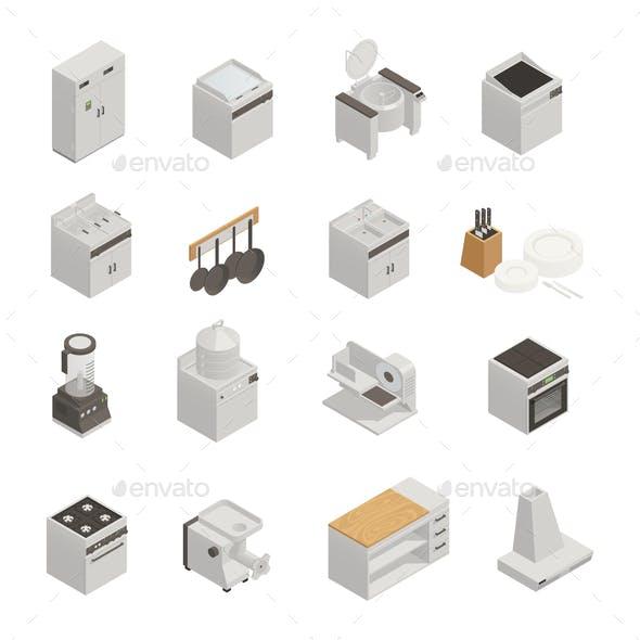 Kitchen Equipment Isometric Icons Set
