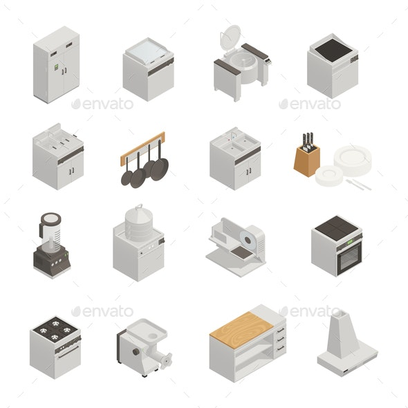 Kitchen Equipment Isometric Icons Set - Food Objects