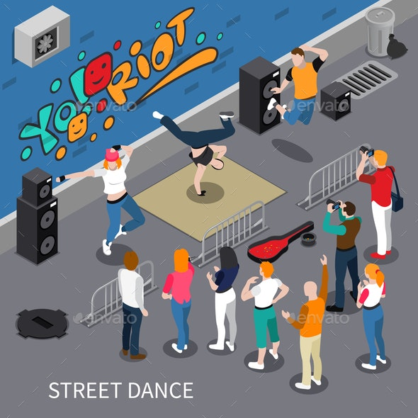 Street Dance Isometric Composition - People Characters