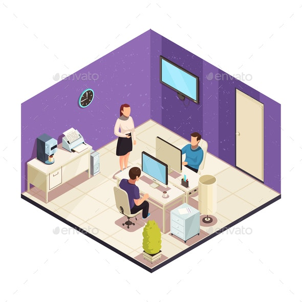 Office Isometric Composition - Buildings Objects