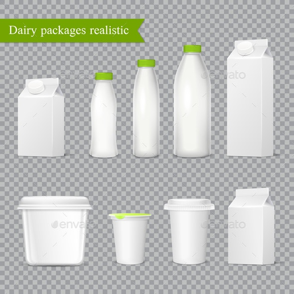 Realistic Dairy Packaging Transparent Set - Food Objects