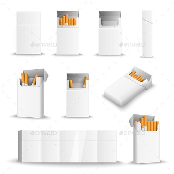 Cigarette Blank Packs Realistic - Miscellaneous Vectors