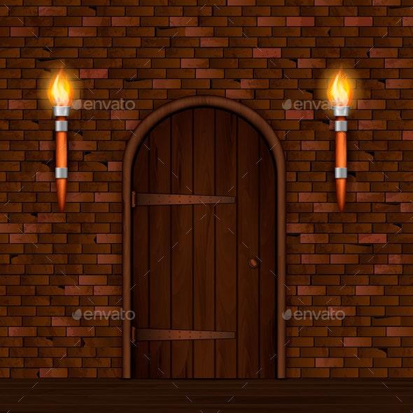 Vintage Entrance Door Composition - Buildings Objects