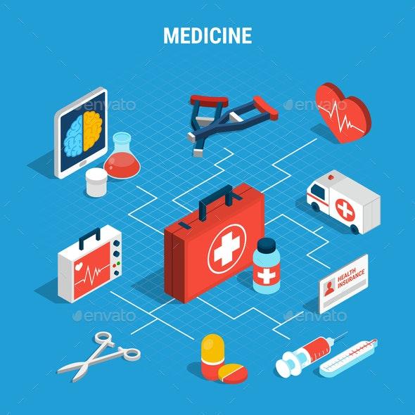 Medicine Isometric Flowchart - Health/Medicine Conceptual