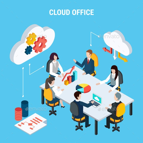 Cloud Office Isometric Poster - Computers Technology