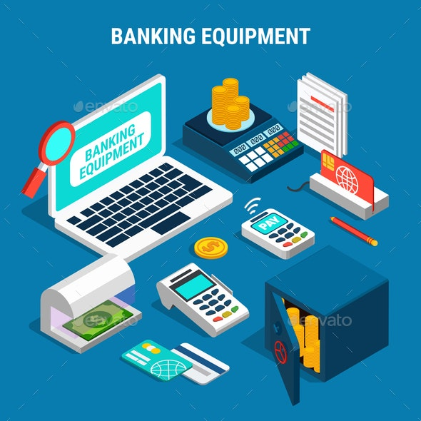 Banking Equipment Isometric Composition - Concepts Business