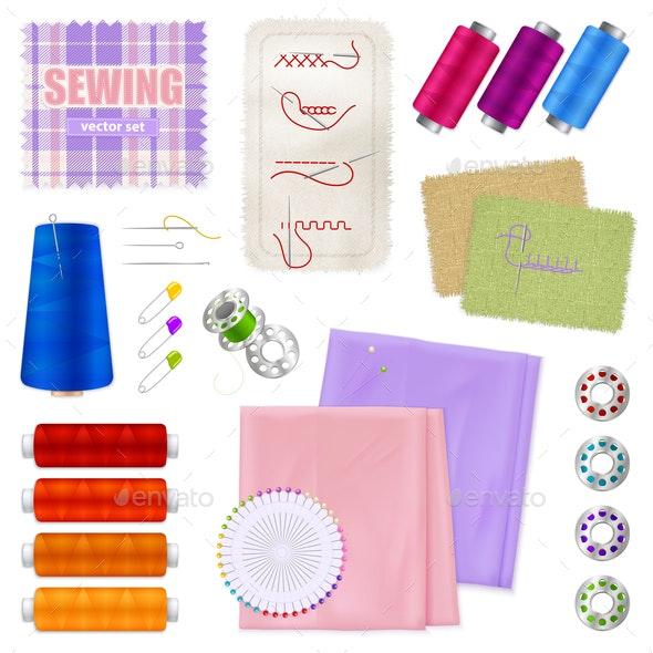 Sewing Accessories Realistic Set - Miscellaneous Vectors
