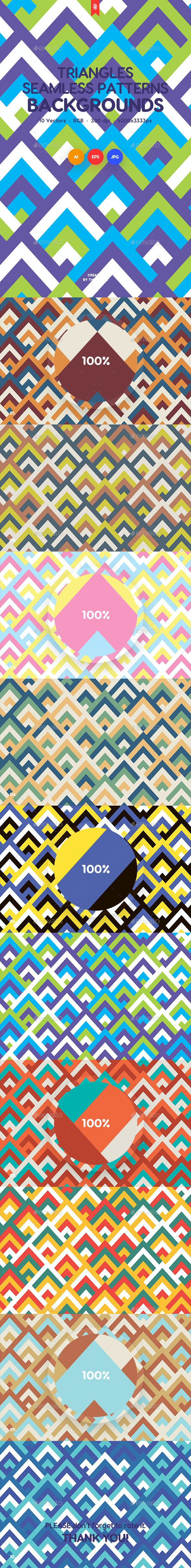 Colored Triangles Seamless Patterns / Backgrounds - Patterns Backgrounds